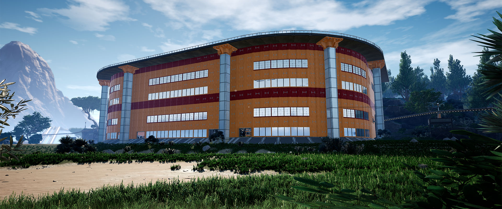 2 floors rounded building in GrassLand
